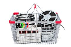 Shopping basket with film reels, 3D rendering. Shopping basket with film reels and clapperboard, 3D rendering isolated on white background royalty free illustration