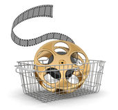 Shopping Basket and Film Strip (clipping path included). Shopping Basket and Film Strip. Image with clipping path Stock Photos