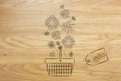 Shopping basket with fireworks coming out and with Sales price t Stock Photography