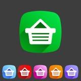 Shopping basket flat icon stock illustration