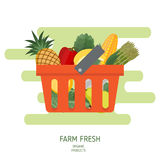 Shopping basket in flat style. Royalty Free Stock Photo