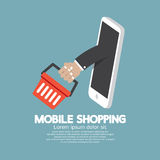 Shopping Basket Flying Out Mobile Phone. Vector Illustration Royalty Free Stock Photo