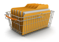 Shopping Basket and Folders (clipping path included) Stock Photography