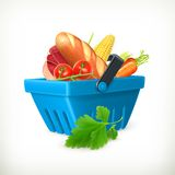 Shopping basket with food Royalty Free Stock Photo