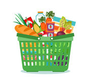 Shopping basket with food vector illustration Royalty Free Stock Images