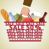 Shopping Basket and Food, Vegetable Stock Photo