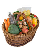 Shopping basket with foods fruits and vegetables Royalty Free Stock Image