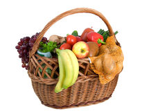 Shopping basket with foods Royalty Free Stock Image