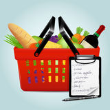 Shopping basket with foods Royalty Free Stock Images