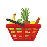 Shopping basket with foods. Vector cartoon illustration Royalty Free Stock Image