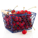 Shopping basket fresh cherries Royalty Free Stock Images