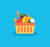 Shopping basket with fresh food and drink.Buy grocery in the sup royalty free stock photos