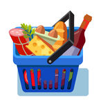 Shopping basket with fresh food Stock Image
