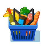 Shopping basket with fresh food Stock Photos