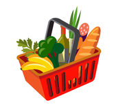 Shopping basket with fresh food Royalty Free Stock Photos