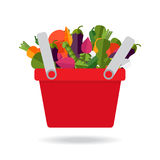 Shopping basket with fresh vegetables. Concept of healthy lifest stock illustration