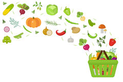 Shopping basket with fresh vegetables. Flat design. Banner space for text, isolated on white background. Healthy stock illustration