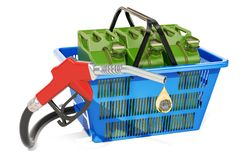 Shopping basket with fuel pump nozzle and jerrycans, 3D renderin. G isolated on white background Stock Photography