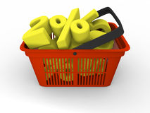 Shopping basket full of discounts Stock Image