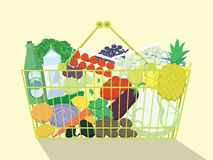 Shopping Basket Full Of Food. Royalty Free Stock Images
