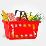 Shopping basket full of food  on white background Stock Photos