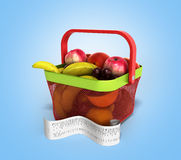 Shopping basket full of fresh fruit with a check 3d illustration Stock Image