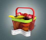 Shopping basket full of fresh fruit with a check 3d illustration Royalty Free Stock Image