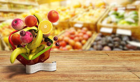 Shopping basket full of fresh fruit with a check 3d render as ba Royalty Free Stock Photography