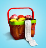 Shopping basket full of fresh fruit with a check 3d render on bl. Ue Royalty Free Stock Photos