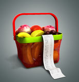 Shopping basket full of fresh fruit with a check 3d render on gr. Ey Stock Images