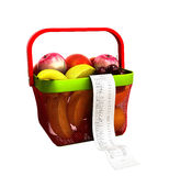 Shopping basket full of fresh fruit with a check 3d render no sh. Adow Stock Photography