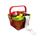 Shopping basket full of fresh fruit with a check 3d render no sh Stock Image