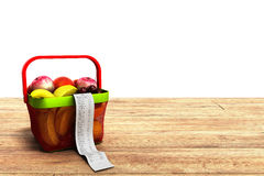 Shopping basket full of fresh fruit with a check 3d render on wo. Od Royalty Free Stock Photography