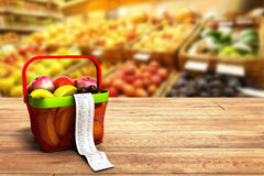Shopping basket full of fresh fruit with a check 3d render on wo. Od background Stock Photography