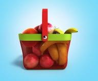 Shopping basket full of fresh fruit 3d illustration on blue grad Stock Photos