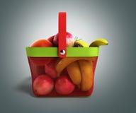 Shopping basket full of fresh fruit 3d illustration on grey grad Stock Photography