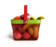 Shopping basket full of fresh fruit 3d illustration Stock Photos