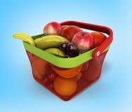 Shopping basket full of fresh fruit 3d render on blue gradient b Stock Photos