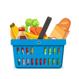 Shopping basket full of fresh groceries. Stock Images