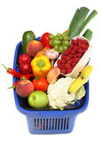 Shopping basket full of fresh produce Stock Photos