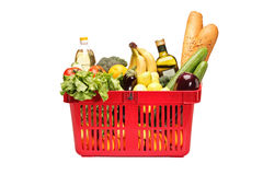 Shopping basket full with groceries Royalty Free Stock Image