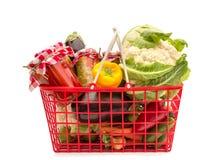Shopping basket full groceries. Preparing for winter Stock Photos