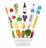 Shopping basket full of groceries products. Metal shopping basket full of groceries products. Grocery store. Fresh organic food and drinks. Vector illustration Royalty Free Stock Image