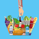 Shopping basket full of groceries products. Metal shopping basket full of groceries products in hand. Grocery store. illustration in flat style Stock Photo