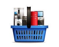 Shopping basket full of kitchen household appliances like freezer, wash machine, tv, dishwasher, gas and induction stove. Shopping basket full of kitchen vector illustration