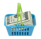 Shopping Basket Full of Money Stock Images