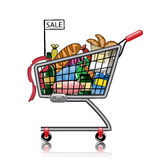 Shopping basket full of products Stock Image