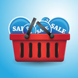 Shopping basket full of sales Stock Images