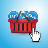 Shopping basket full of sales Stock Photos