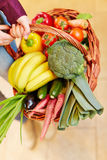 Shopping basket full of vegetables Royalty Free Stock Photo